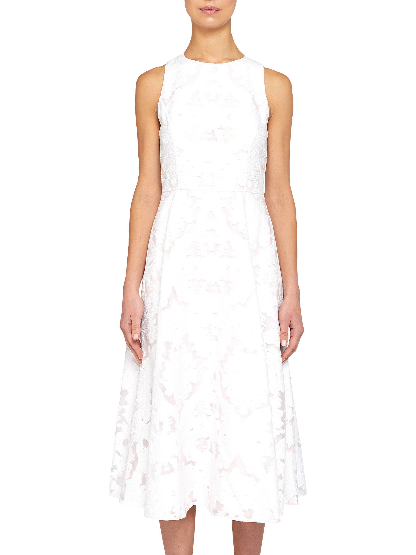 Buy Ted Baker Burnout Sleeveless Midi Dress, Ivory, 0 Online at johnlewis.com