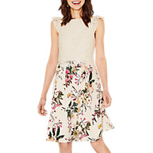Buy Oasis Lace Top Skater Dress, Multi/Natural Online at johnlewis.com