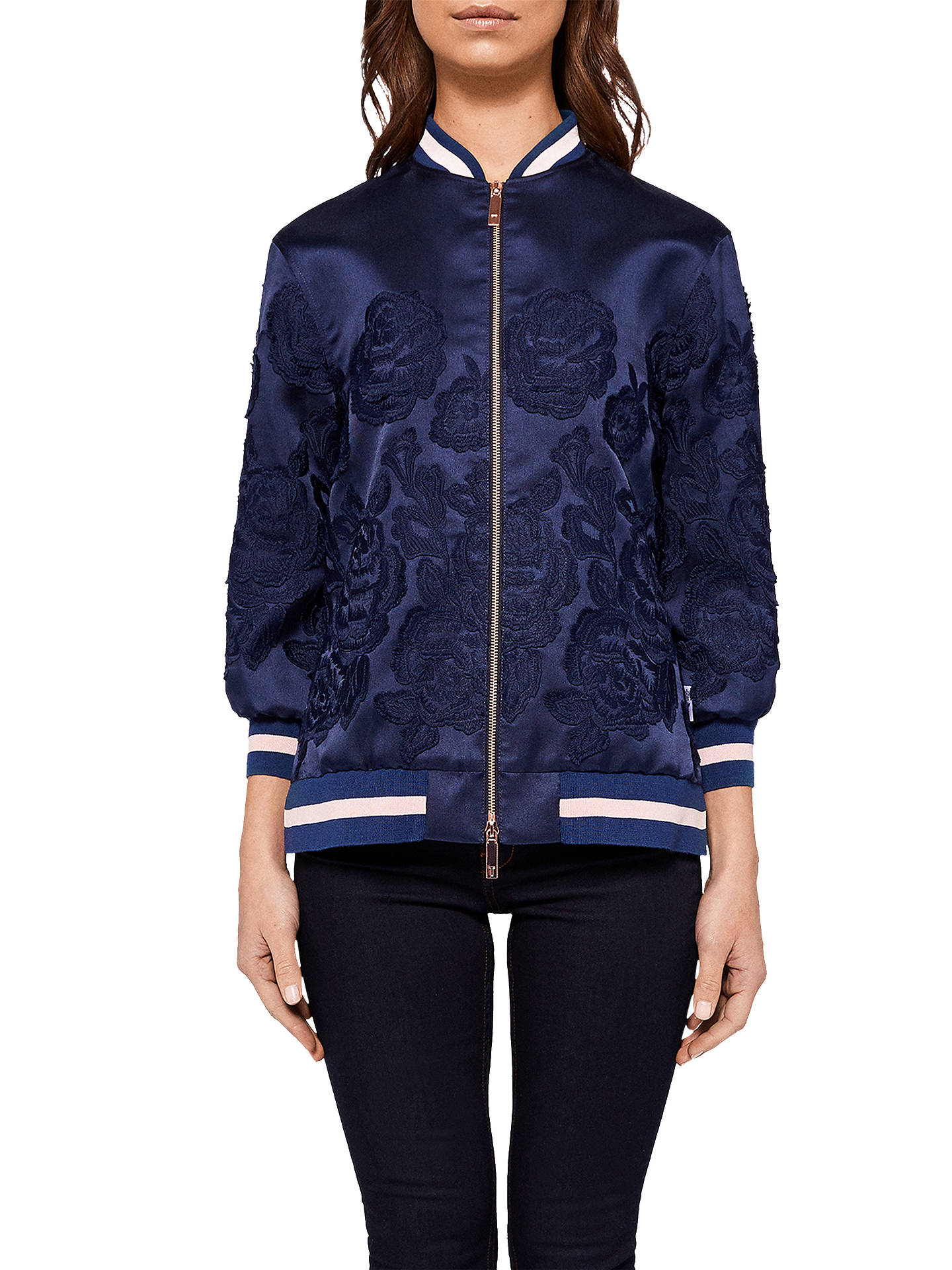 0d8b3be953f2c3 Buy Ted Baker Mitsy Floral Jacquard Bomber Jacket, Navy, 0 Online at  johnlewis.