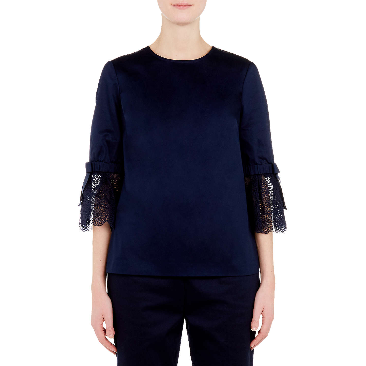Ted Baker Frolta Brodierie Bell Sleeve Lace Trim Top, Navy by Ted Baker