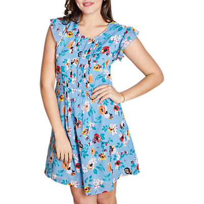 Yumi Curves Floral Ladder Front Day Dress, Light Blue