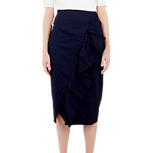Buy Ted Baker Malori Ruffle Midi Pencil Skirt, Navy Online at johnlewis.com