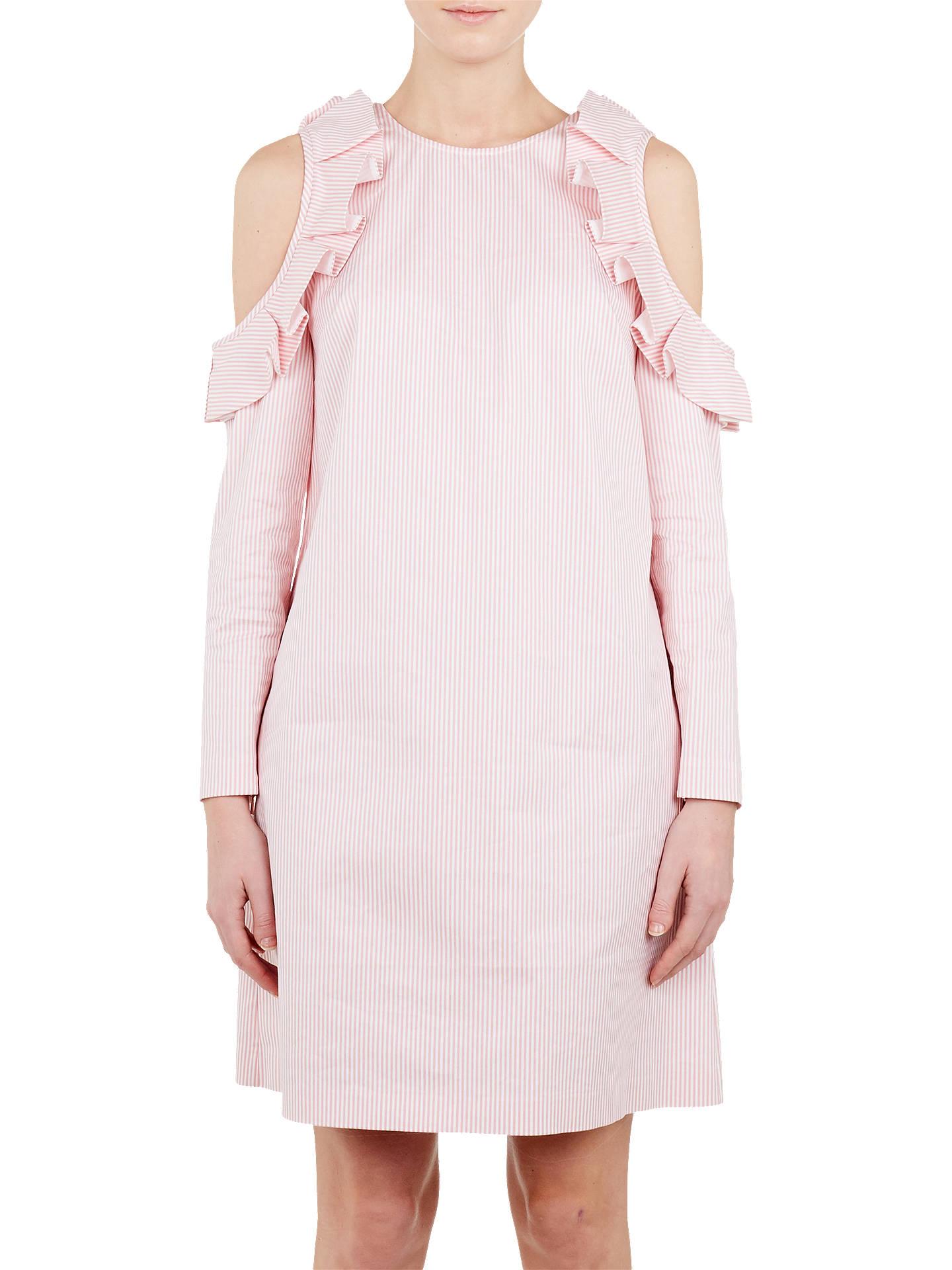 056988b80d7 Buy Ted Baker Stripe Cold Shoulder Tunic Dress, White/Pink, 0 Online at ...