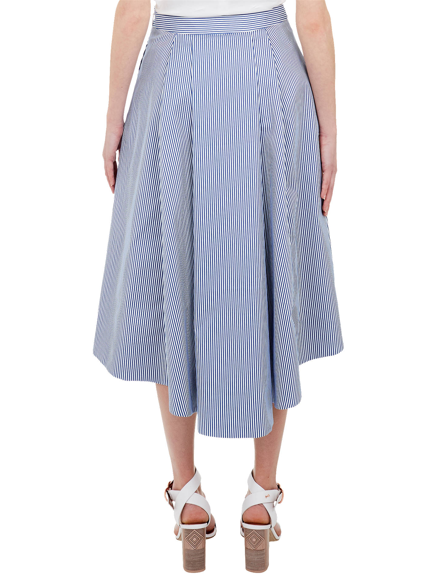 b8f4eb004 ... Buy Ted Baker Stripe Drop Hem Cotton Skirt, White/Blue, 6 Online at ...