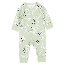 Buy Polarn O. Pyret Baby Organic Cotton Panda All-in-One, Green Online at johnlewis.com