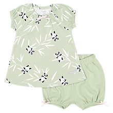 Buy Polarn O. Pyret Baby Panda Top and Shorts Set, Green Online at johnlewis.com