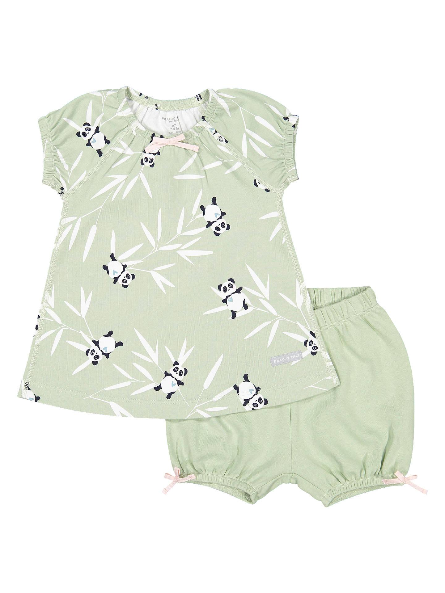 Polarn O. Pyret Baby Panda Top and Shorts Set, Green at John Lewis ...