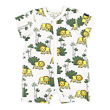 Buy Polarn O. Pyret Baby Organic Cotton Lion Playsuit, White Online at johnlewis.com