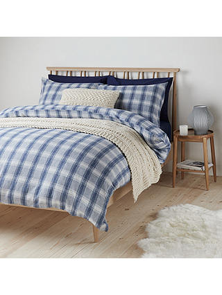 Buy John Lewis & Partners Check Brushed Cotton Super King Duvet Cover Set, Blue Online at johnlewis.com