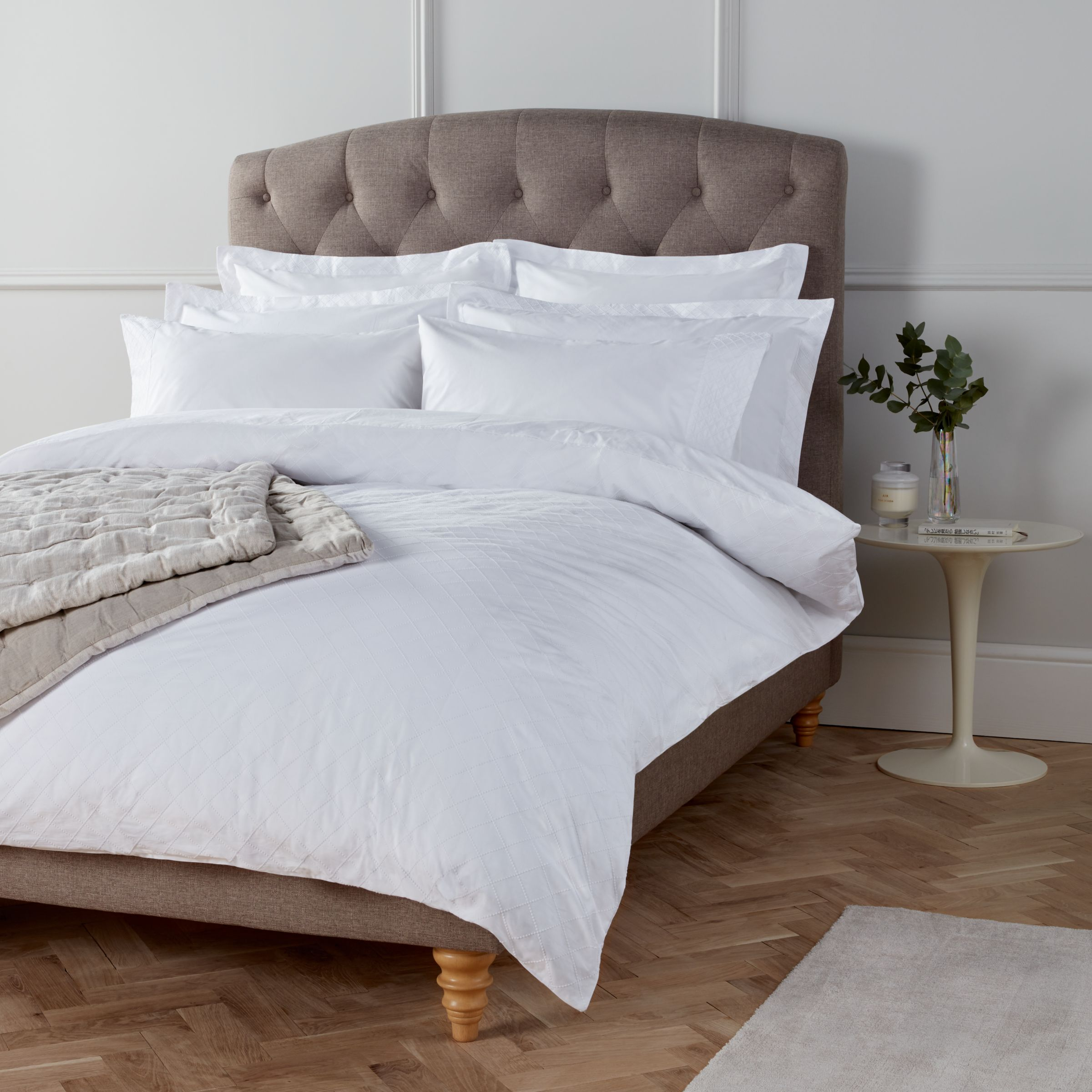 John Lewis Partners Crisp And Fresh Lattice Embroidered Bedding White At John Lewis Partners
