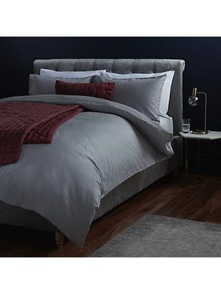 John Lewis & Partners Textured and Decorative Pavone Duvet Cover and Pillowcase Set, Silver