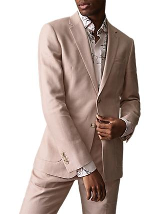 Reiss Cosmopolitan Linen Wool Suit Jacket, Soft Pink