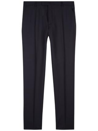 Jaeger Wool Slim Fit Rib Weave Suit Trousers, Navy