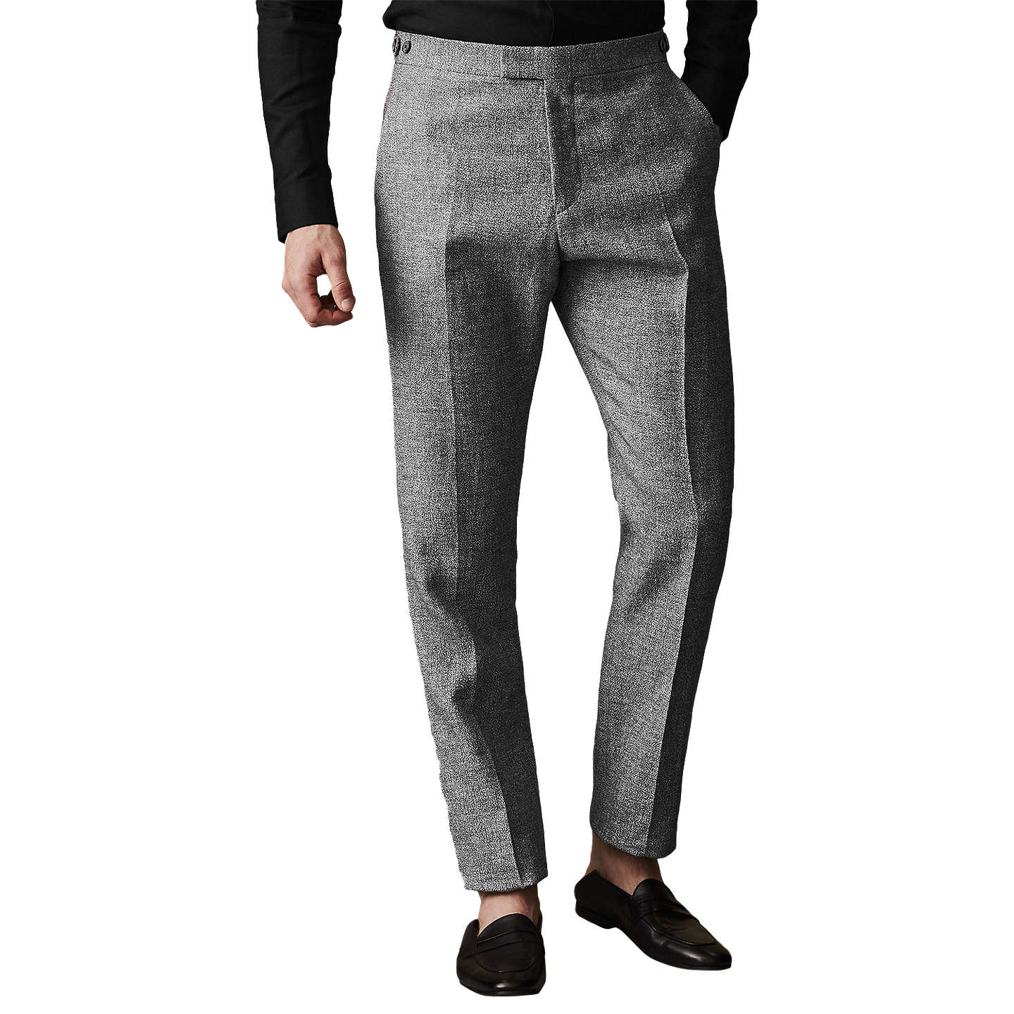 Tribe T - Slim Fit Linen Trousers in Grey, Mens, Size 28 Reiss