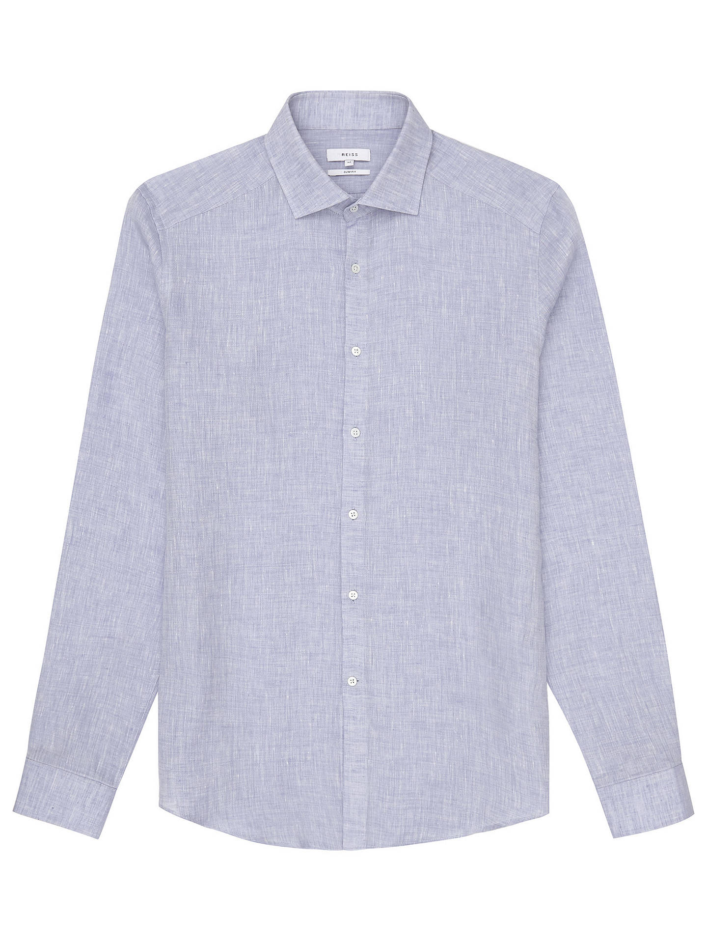 BuyReiss Perdu Regular Fit Textured Linen Shirt, Soft Blue, S Online at johnlewis.com