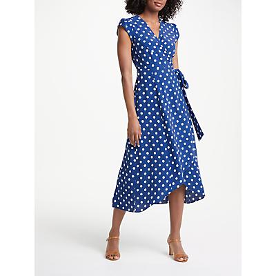 Boden Antina Wrap Riviera Polka Dot Dress, Blue