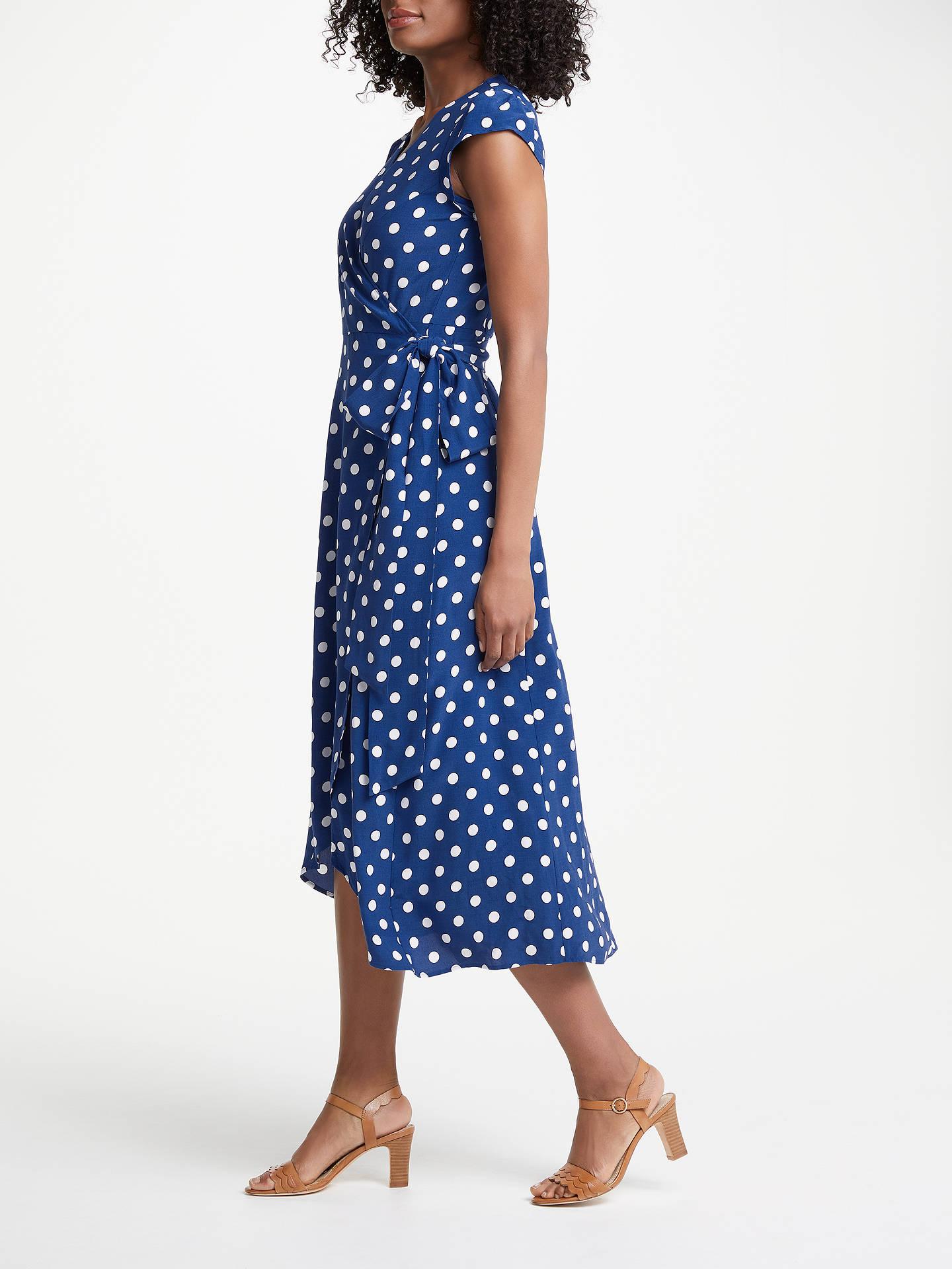 Boden Antina Wrap Riviera Polka Dot Dress Blue At John