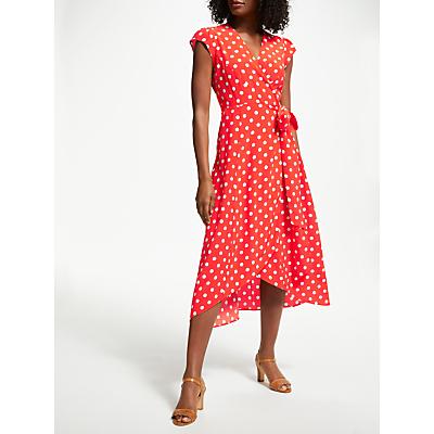 Boden Antonia Polka Dot Wrap Dress, Blood Orange