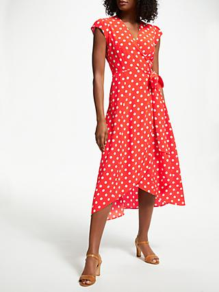 Boden Antonia Polka Dot Wrap Dress, Blood Orange