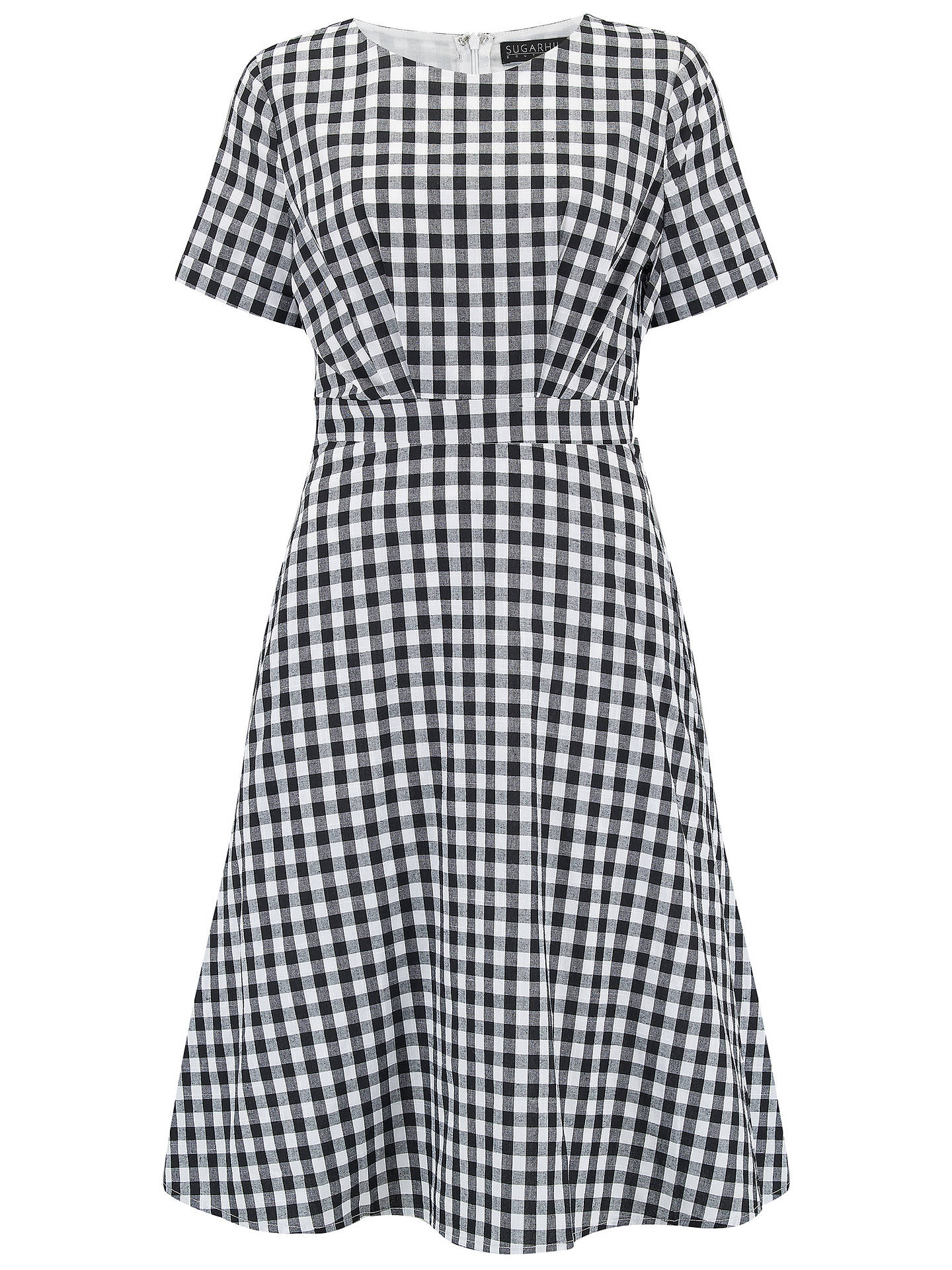BuySugarhill Brighton Pure Cotton Jaya Gingham Dress, Black/White, 8 Online at johnlewis.com