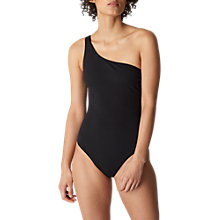 Buy Whistles One Shoulder Swimsuit, Black Online at johnlewis.com