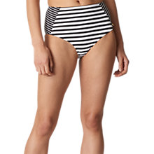 Buy Whistles Santiago Stripe High Rise Bikini Brief, Black Online at johnlewis.com
