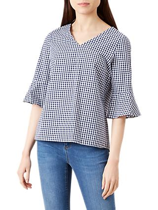 Hobbs Bonnie Fluted Sleeve Top, Navy/White