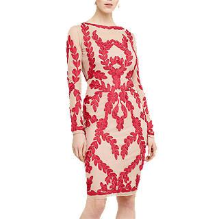 Phase Eight Amelie Tapework Dress, Hot Pink/Ivory