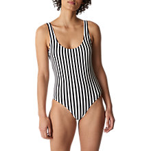 Buy Whistles Stripe Swimsuit, Black/White Online at johnlewis.com