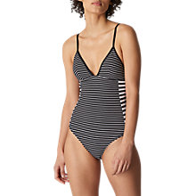 Buy Whistles Santiago Stripe Swimsuit, Black/White Online at johnlewis.com