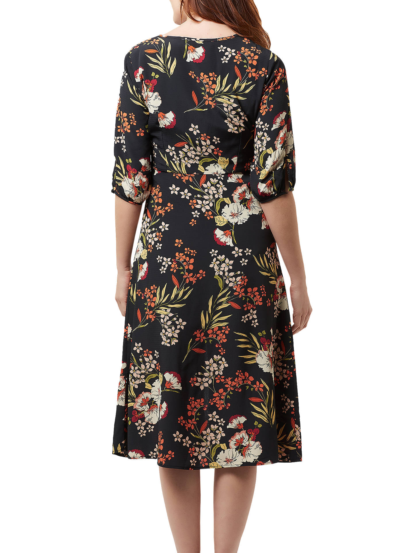BuySugarhill Brighton Alice Hand Drawn Floral Midi Dress, Black/Multi, 8 Online at johnlewis.com