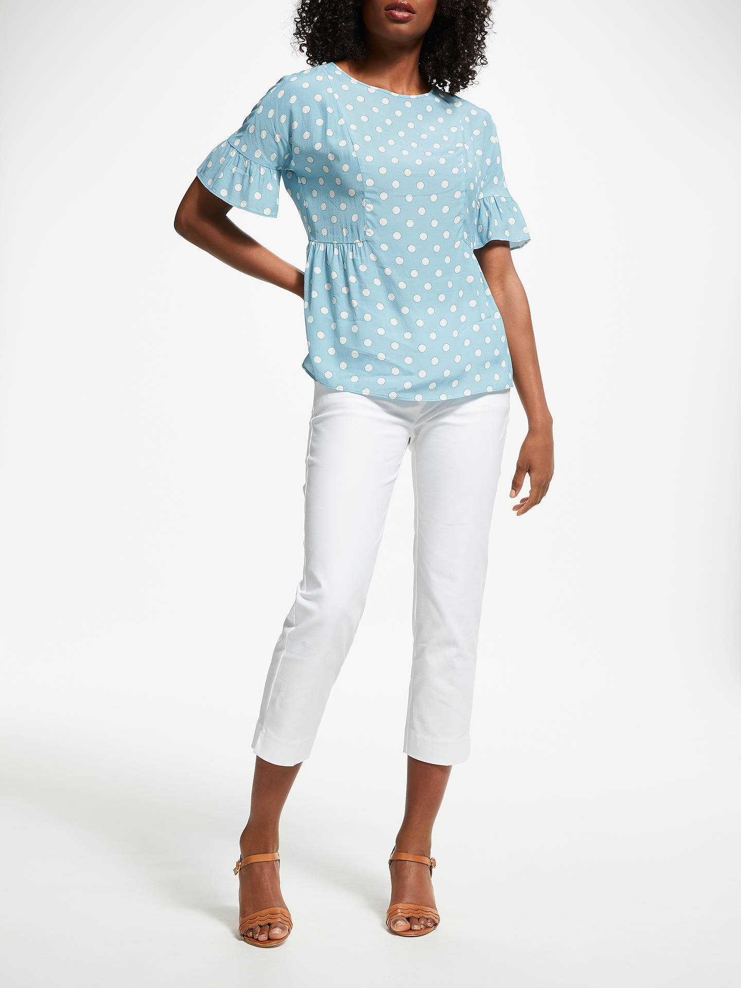 BuyBoden Carlene Polak Dot Frll Sleeve Top, Blue, 16 Online at johnlewis.com