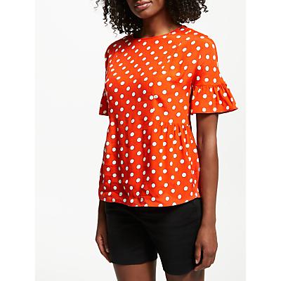 Boden Caroline Polka Dot Top, Blood Orange