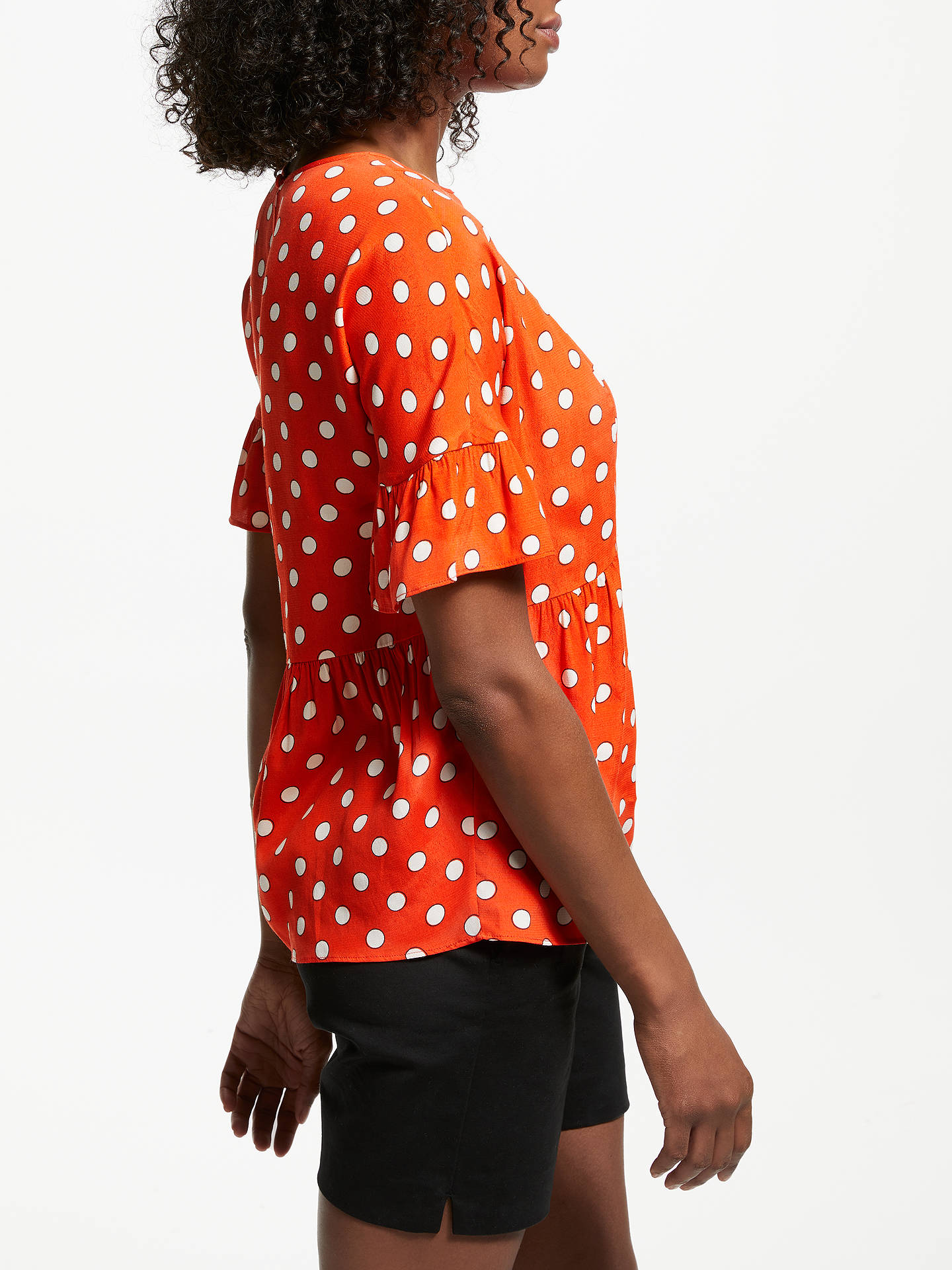 BuyBoden Caroline Polka Dot Top, Blood Orange, 8 Online at johnlewis.com
