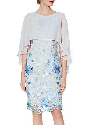Gina Bacconi Jacquelin Dress And Chiffon Cape, Lilac/Silver