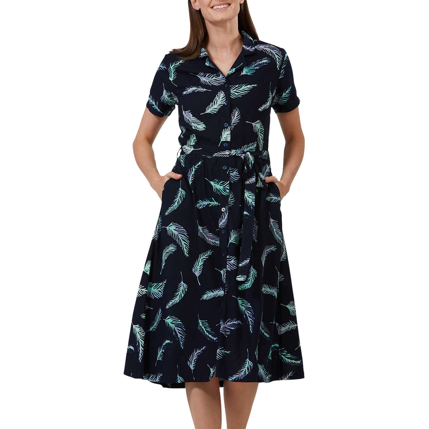 BuySugarhill Brighton Batik Kendra Shirt Dress, Navy/Lilac, 8 Online at johnlewis.com