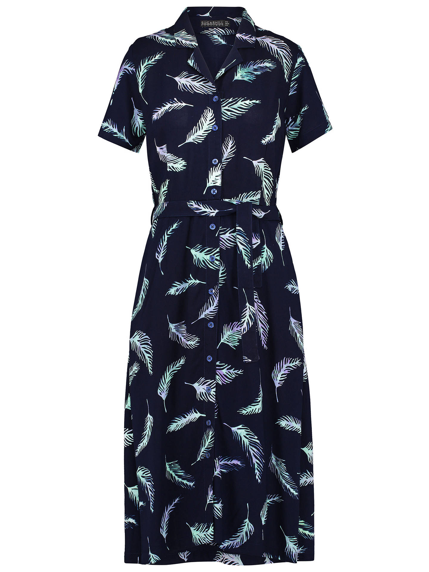 BuySugarhill Brighton Batik Kendra Shirt Dress, Navy/Lilac, 16 Online at johnlewis.com