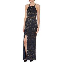 Buy Gina Bacconi Celeste Beaded Maxi Dress, Navy/Gold Online at johnlewis.com