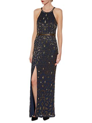 Gina Bacconi Celeste Beaded Maxi Dress, Navy/Gold