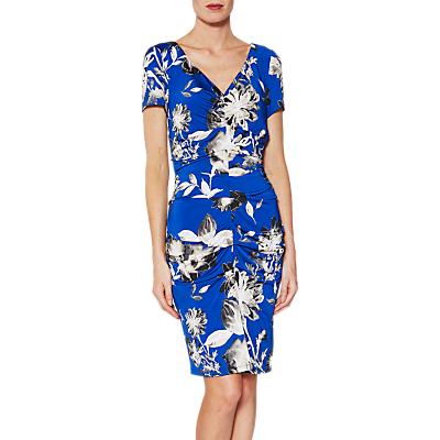 Image of Gina Bacconi Paloma Floral Jersey Dress, Royal Blue