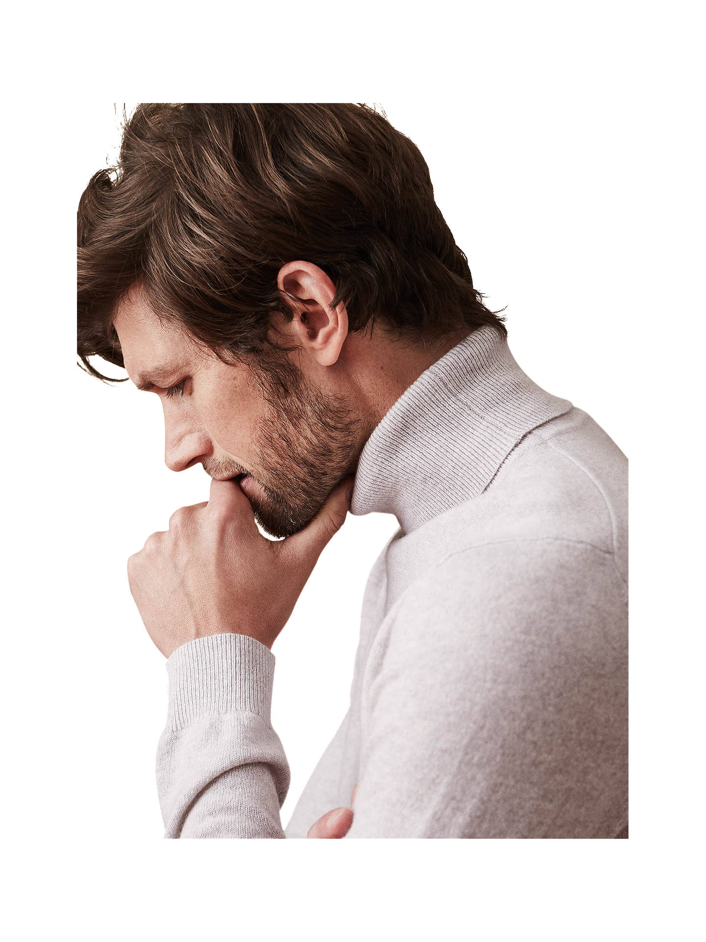 BuyReiss Mansell Cashmere Roll Neck Jumper, Arctic Mist, S Online at johnlewis.com