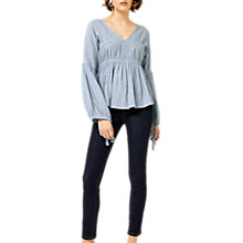 Buy Warehouse V-Neck Blouson Top, Blue Online at johnlewis.com