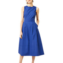Buy Warehouse Cotton Tie Back Midi Dress, Bright Blue Online at johnlewis.com