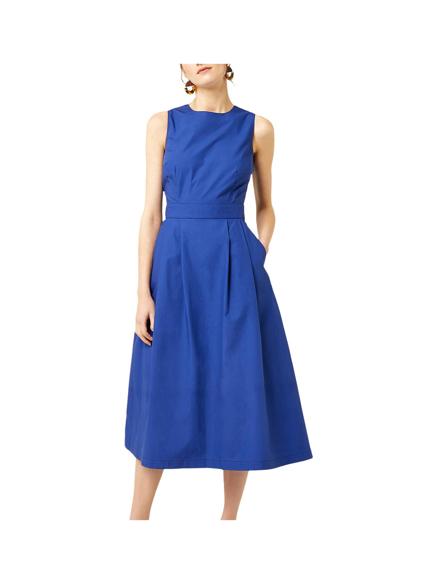 d21524ec3df7 Buy Warehouse Cotton Tie Back Midi Dress, Bright Blue, 6 Online at  johnlewis.