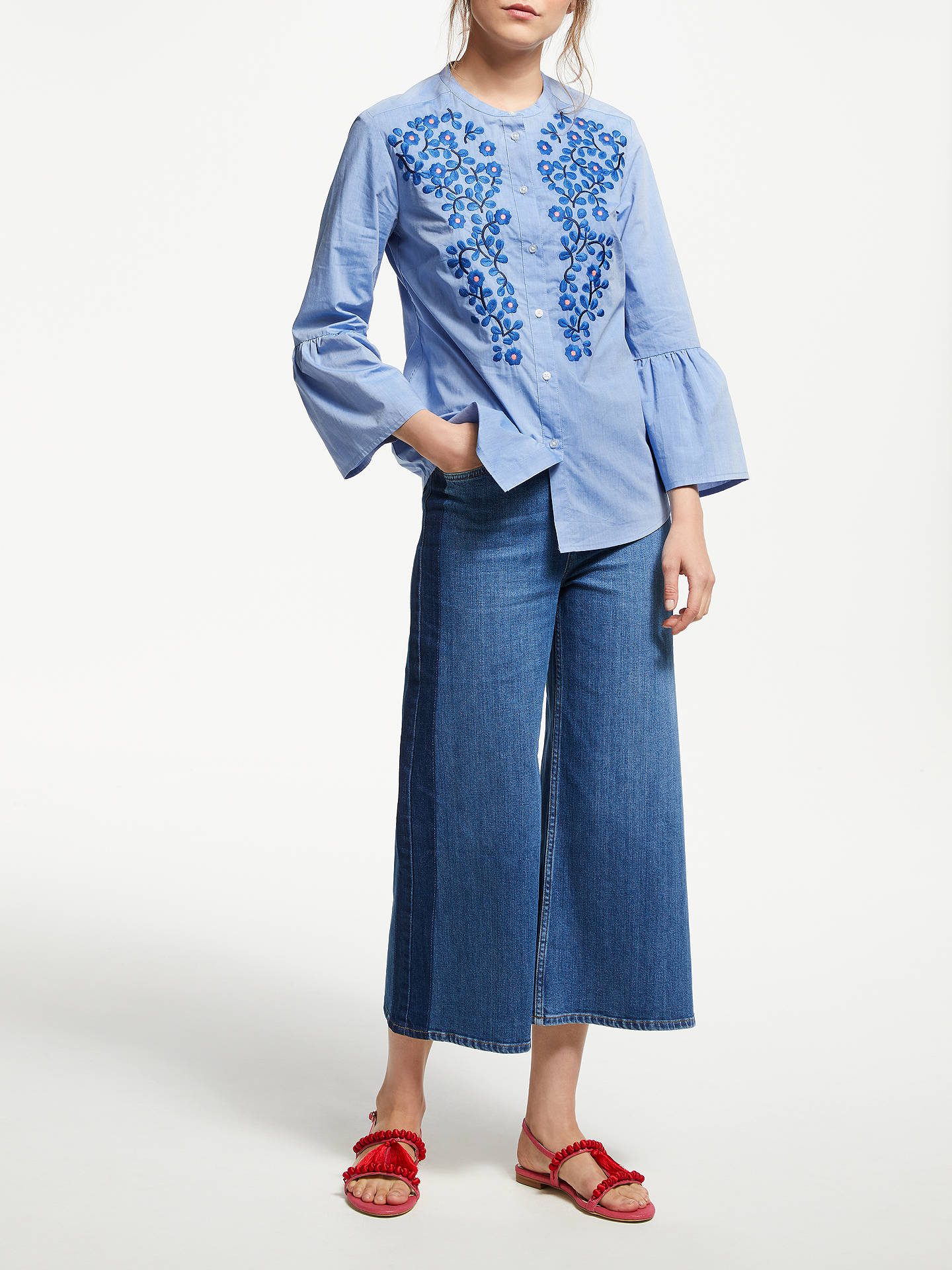 BuyBoden Embroidered Bell Sleeve Shirt, Chambray, 8 Online at johnlewis.com