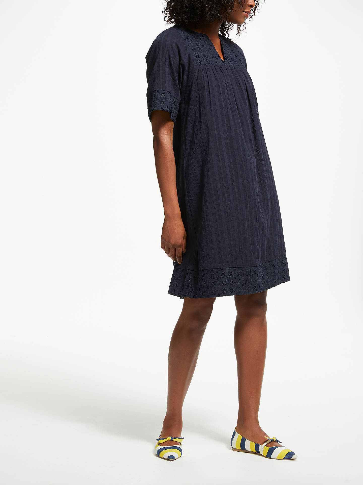 BuyBoden Helene Broderie Dress, Navy, 8 Online at johnlewis.com