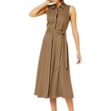 Buy Warehouse Sleeveless Trimmed Shirt Dress, Khaki Online at johnlewis.com