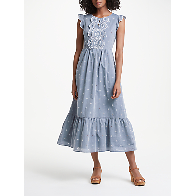 Image of Boden Lucinda Broderie Dress, Chambray/Ivory Embroidery