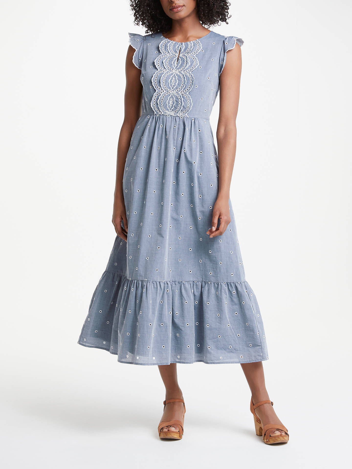Buy Boden Lucinda Broderie Dress, Chambray/Ivory Embroidery, 8 Online at johnlewis.com