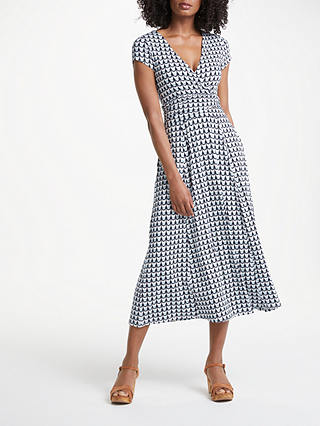 Buy Boden Lily Jersey Dress, Ice Grey Retro Spot, 8 Online at johnlewis.com